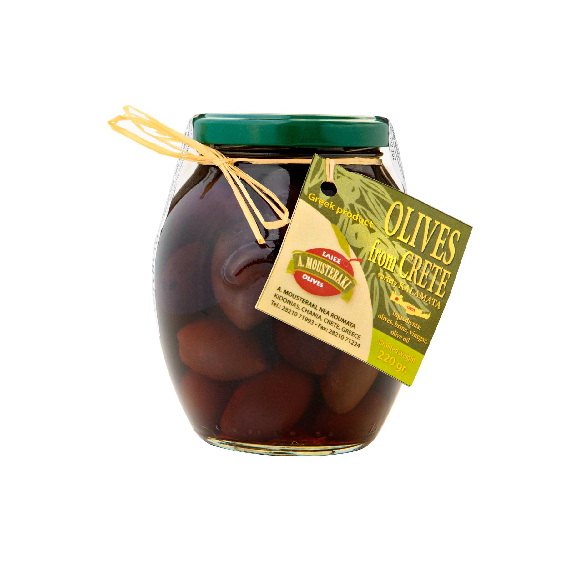 Mousteraki oliwki ciemne z pestką 220g